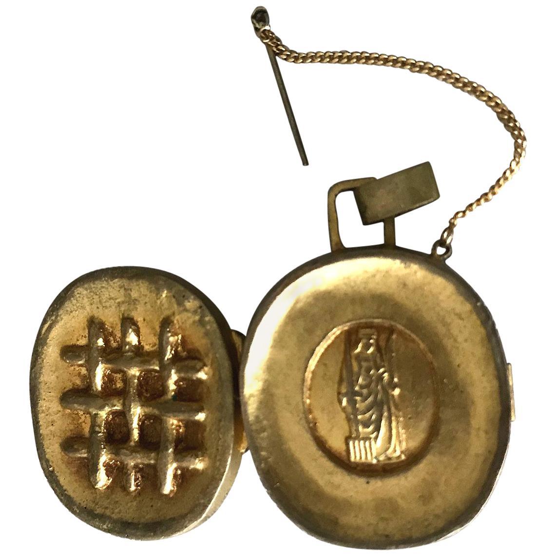 Gilt Bronze Reliquary Pendant by Line Vautrin