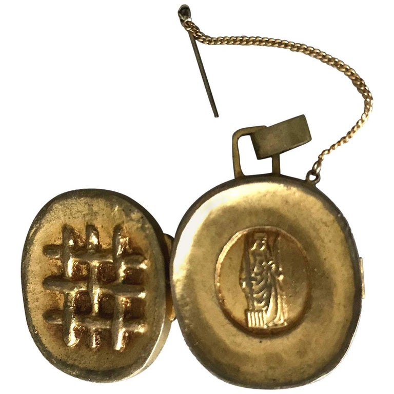 Gilt Bronze Reliquary Pendant by Line Vautrin For Sale