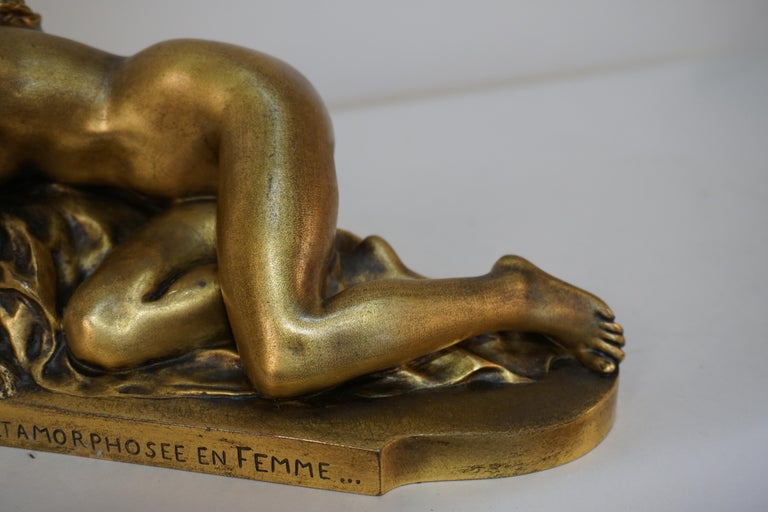 French Gilt Bronze Sculpture of Nude Female with Mouse by Ferdinand Faivre