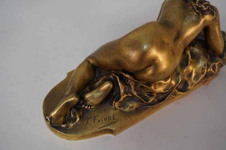 Gilt Bronze Sculpture of Nude Female with Mouse by Ferdinand Faivre In Good Condition In Fairfax, VA