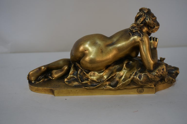 Gilt Bronze Sculpture of Nude Female with Mouse by Ferdinand Faivre 1