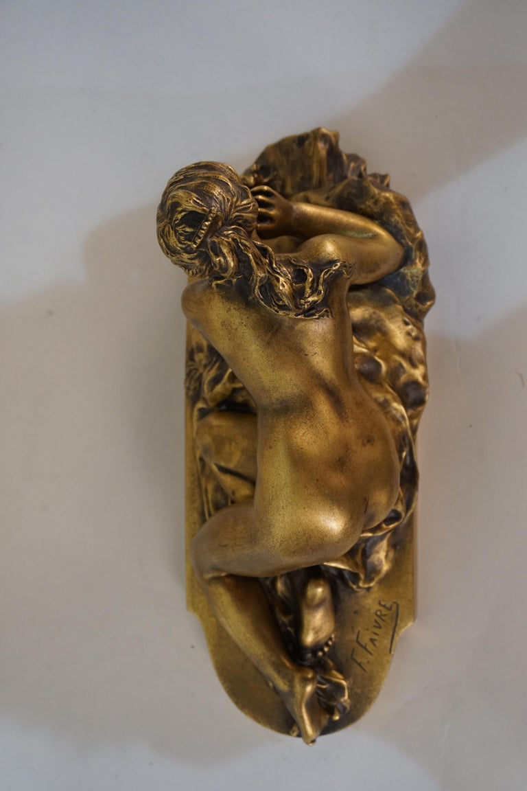 Gilt Bronze Sculpture of Nude Female with Mouse by Ferdinand Faivre 4