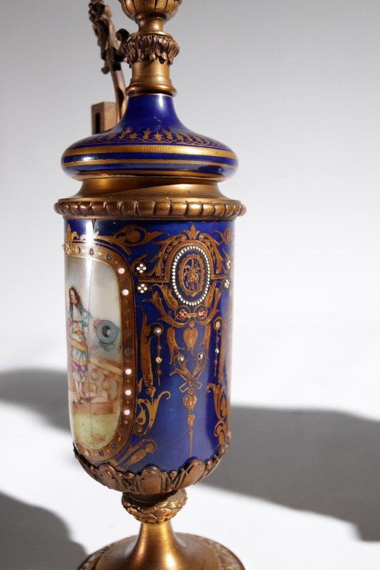 Gilt Bronze Sevres Style Clock Garniture, 19th Century For Sale 8