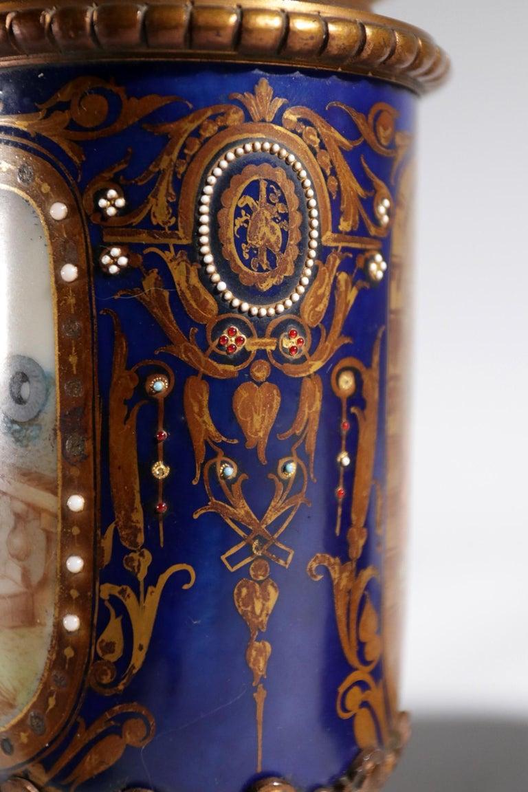 Gilt Bronze Sevres Style Clock Garniture, 19th Century For Sale 9