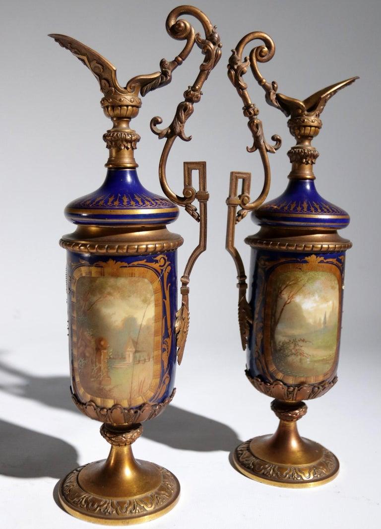 Gilt Bronze Sevres Style Clock Garniture, 19th Century For Sale 10