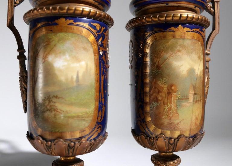 Gilt Bronze Sevres Style Clock Garniture, 19th Century For Sale 11