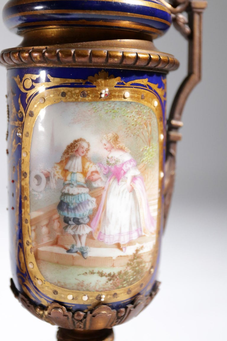 Gilt Bronze Sevres Style Clock Garniture, 19th Century For Sale 13