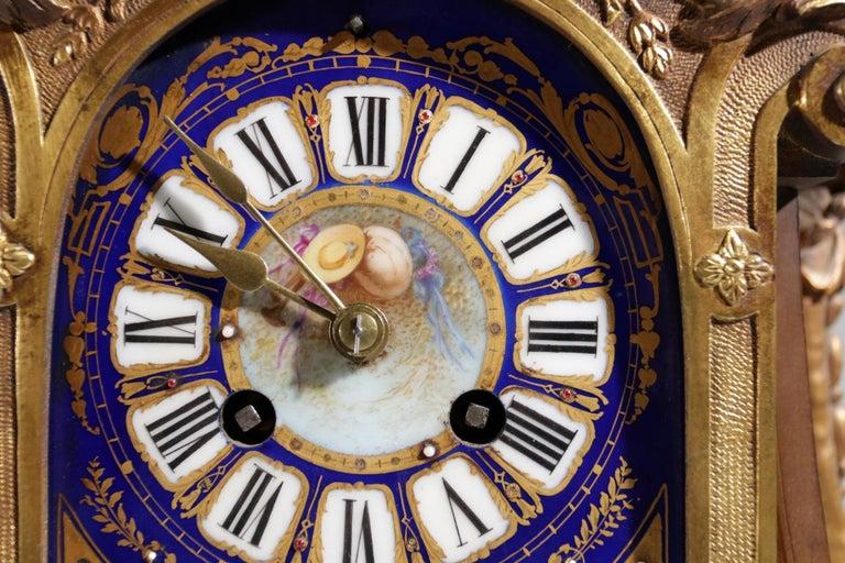 Rococo Gilt Bronze Sevres Style Clock Garniture, 19th Century For Sale