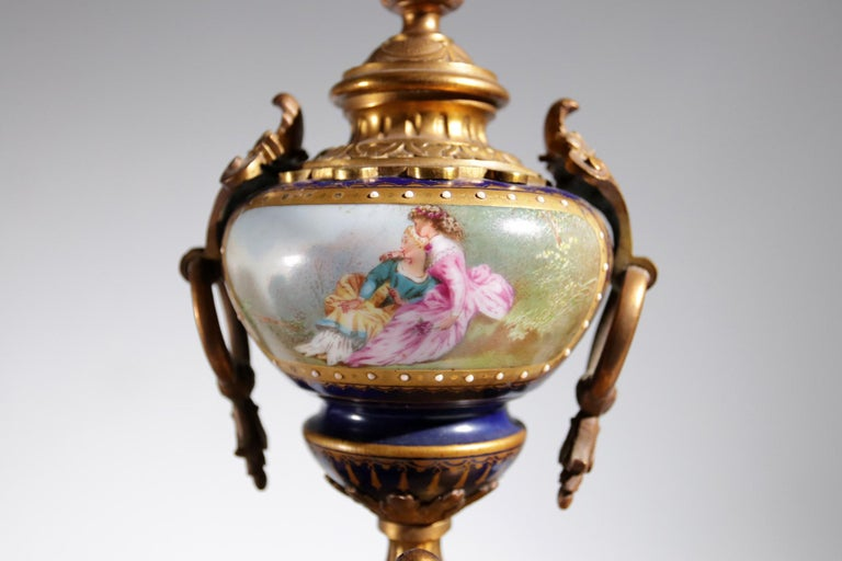 French Gilt Bronze Sevres Style Clock Garniture, 19th Century For Sale