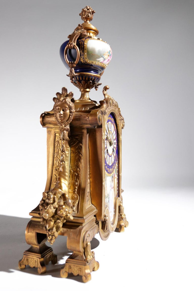Hand-Painted Gilt Bronze Sevres Style Clock Garniture, 19th Century For Sale