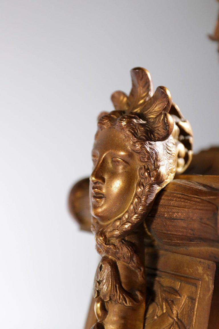 Gilt Bronze Sevres Style Clock Garniture, 19th Century In Good Condition For Sale In Boven Leeuwen, NL