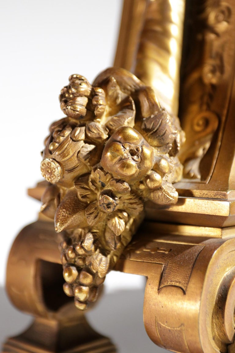 Gilt Bronze Sevres Style Clock Garniture, 19th Century For Sale 1