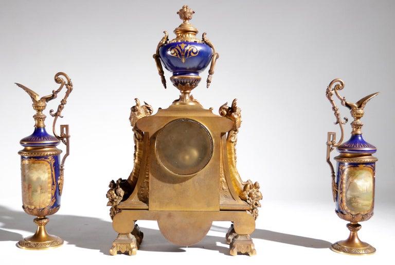 Gilt Bronze Sevres Style Clock Garniture, 19th Century For Sale 2