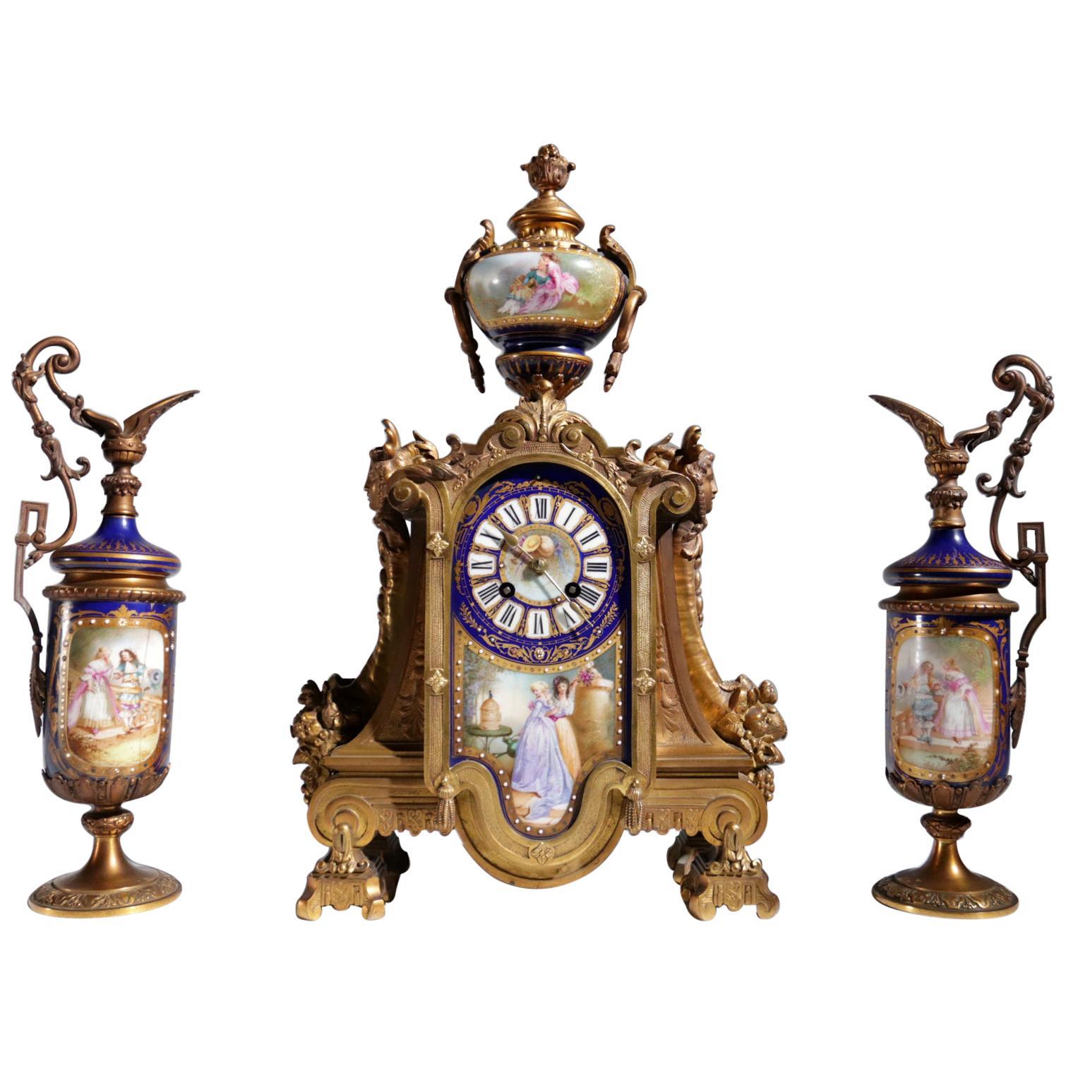 Gilt Bronze Sevres Style Clock Garniture, 19th Century