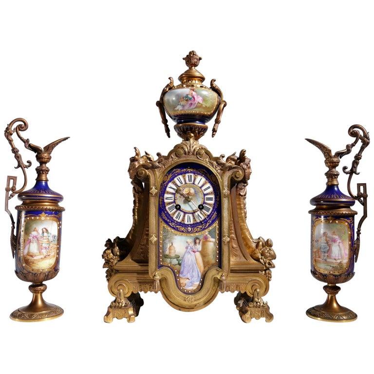 Gilt Bronze Sevres Style Clock Garniture, 19th Century For Sale