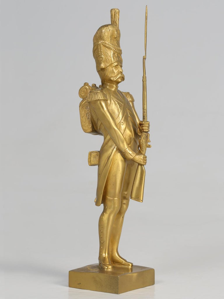 Gilt Bronze Soldier Sculpture by Medwedsky In Good Condition For Sale In Chicago, IL