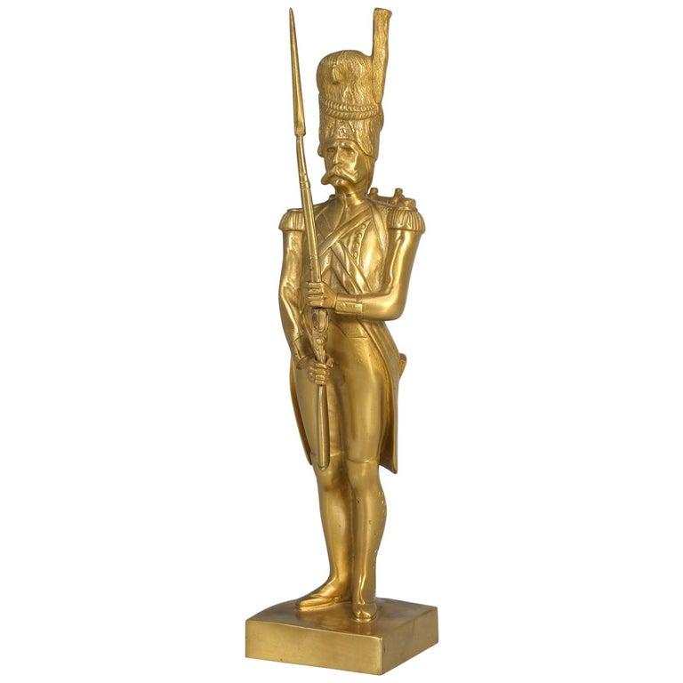 Gilt Bronze Soldier Sculpture by Medwedsky For Sale