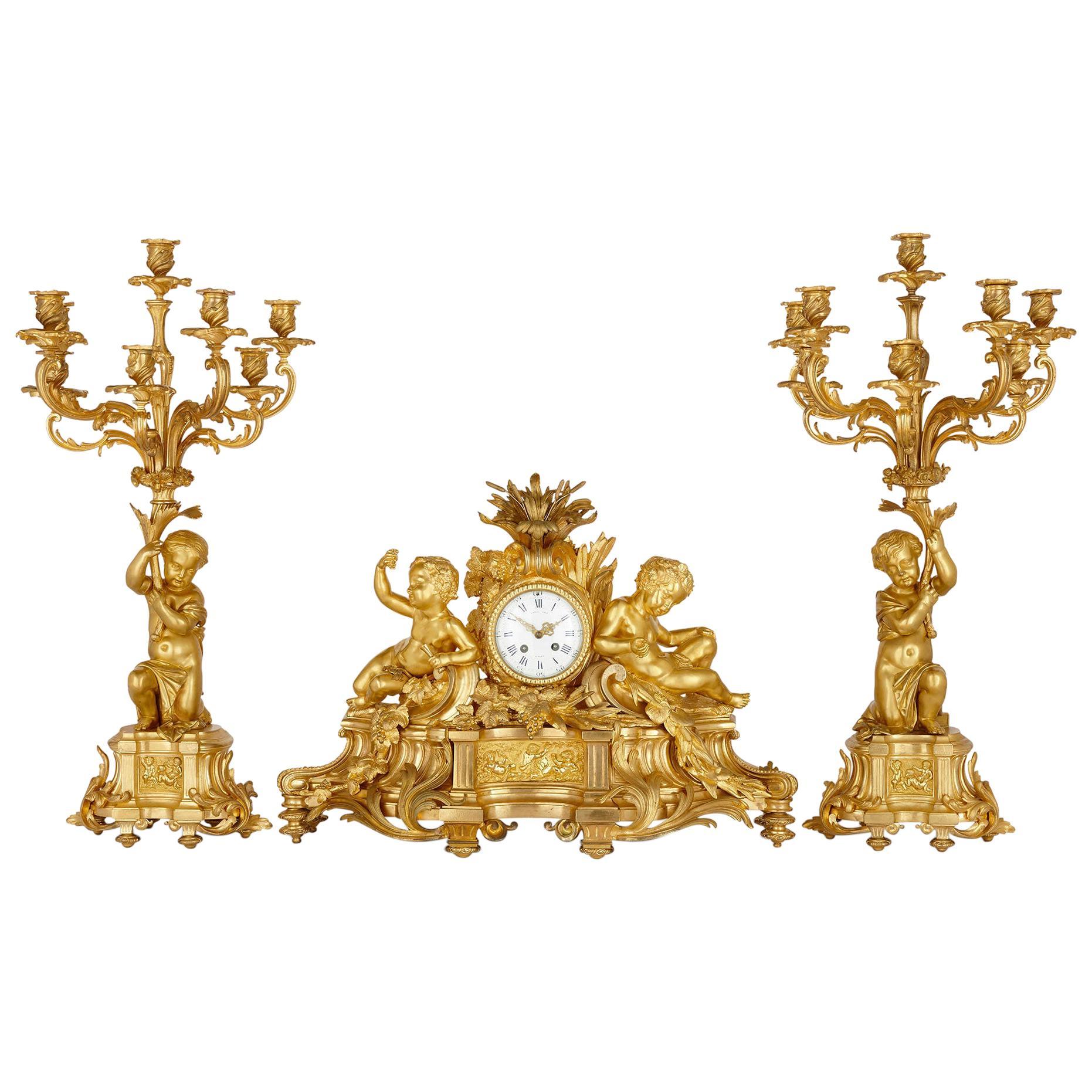 Gilt Bronze Three-Piece Clock Set by Raingo Frères and Henri Picard
