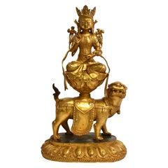 Gilt Bronze Tibetan White Tara on High Lotus Pedestal