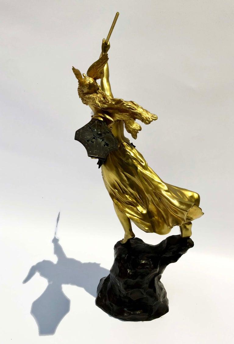 Neoclassical Revival Gilt Bronze Valquiria Sculpture Signed Jean Baptiste Belloc '1863-1919' For Sale