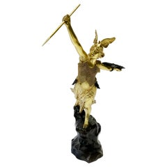 Gilt Bronze Valquiria Sculpture Signed Jean Baptiste Belloc '1863-1919'