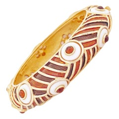 Gilt & Brown Enamel Hinged Bangle Bracelet By Marcel Boucher, 1960s