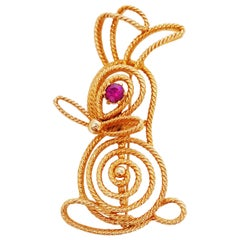 Gilt Bunny Rabbit Brooch by Napier, Signed, circa 1970