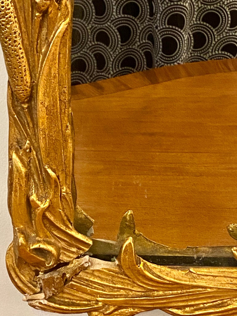 Giltwood Gilt Carved Shell Motif Italian Mirror