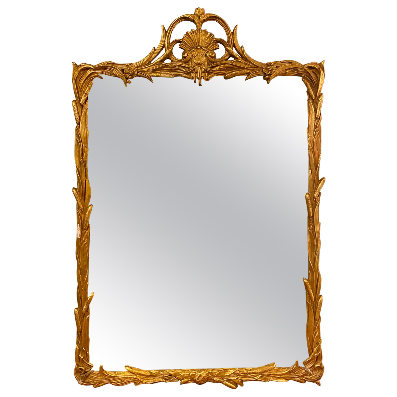 Gilt Carved Shell Motif Italian Mirror