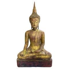 Gilt Carved Wood Seated Temple Shrine Thai Siam Asian Serene Buddha