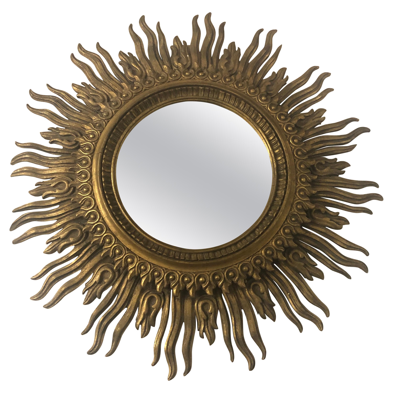 Gilt Carved Wood Sunburst Framed Mirror
