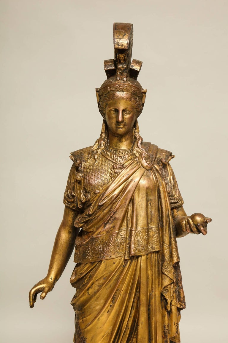 Classical Greek Neoclassical Gilt Iron Sculpture of Athena For Sale