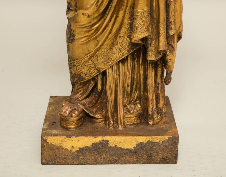 Austrian Neoclassical Gilt Iron Sculpture of Athena For Sale