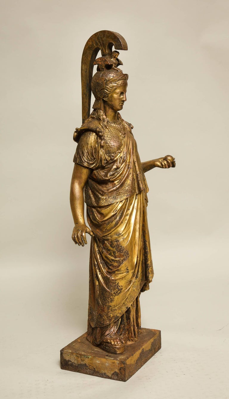 Cast Neoclassical Gilt Iron Sculpture of Athena For Sale