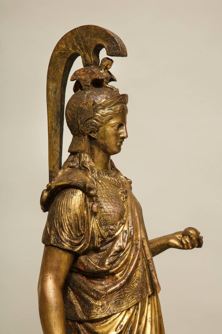 Neoclassical Gilt Iron Sculpture of Athena In Good Condition For Sale In New York, NY