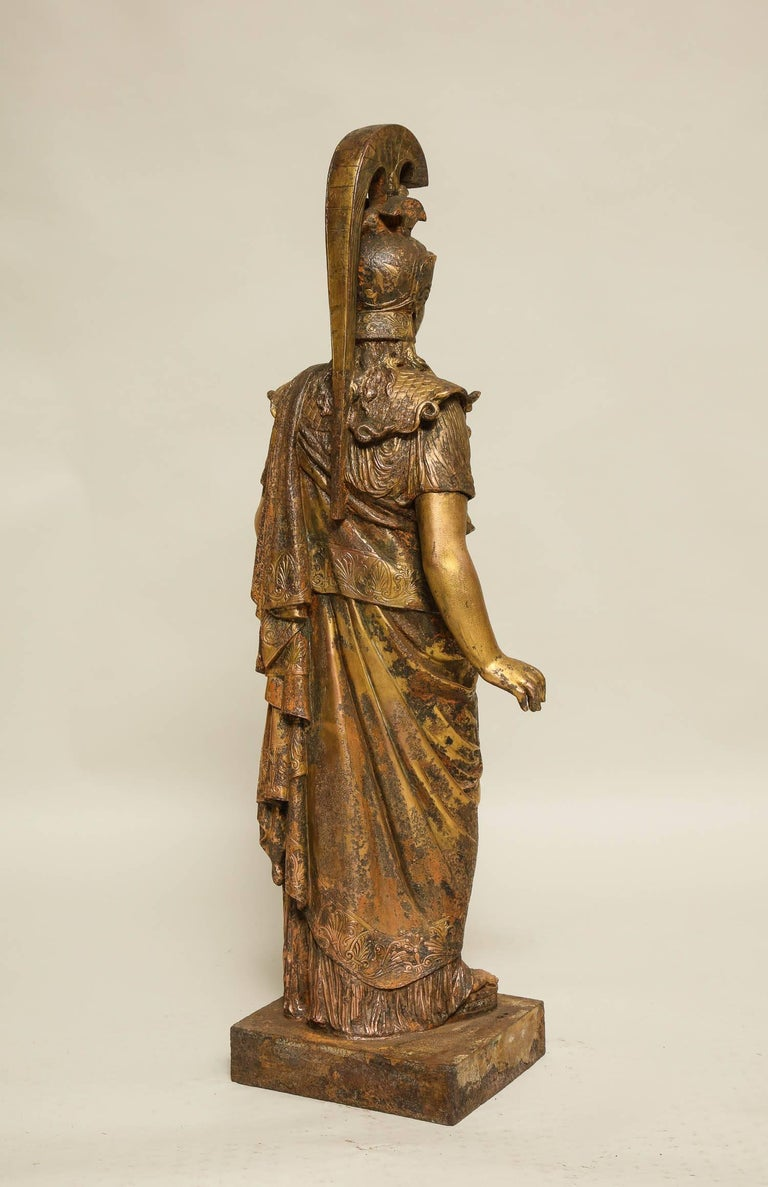 Late 19th Century Neoclassical Gilt Iron Sculpture of Athena For Sale
