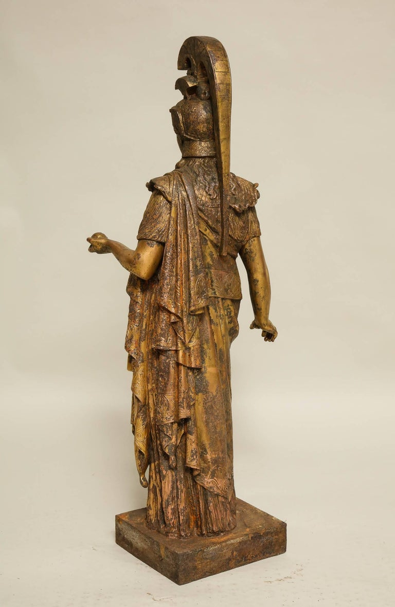 Neoclassical Gilt Iron Sculpture of Athena For Sale 1