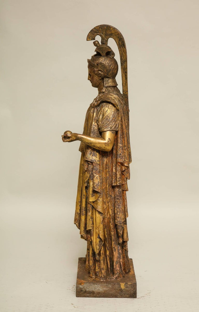 Neoclassical Gilt Iron Sculpture of Athena For Sale 2
