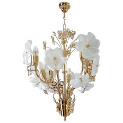 Gilt Chandelier with Murano Glass Flowers and Swarovski Crystals by Murano, 1990