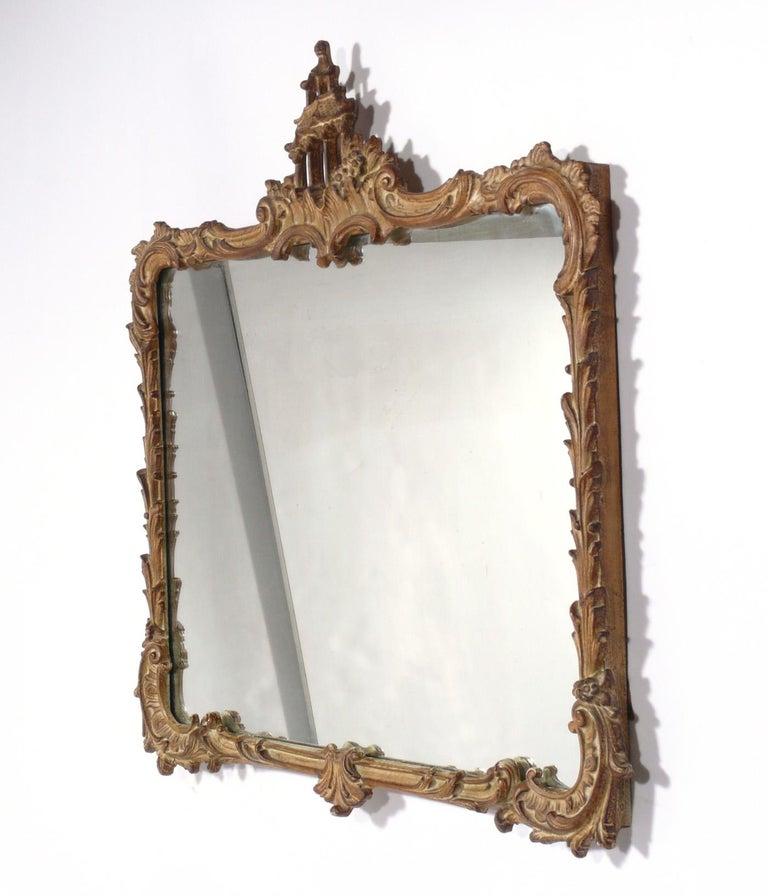 Gilt chinoiserie mirror, probably Italian, circa 1940s.
