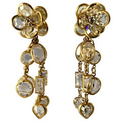 Gilt Clear Crystal Flower Diamante Statement Earrings