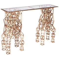 Gilt Console Table in the Style of Antony Gormley