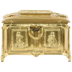 Gilt Dore Bronze Metal Footed Covered Box