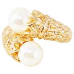 Gilt Double Pearl Ring with Rhinestone Crystals (Size 6) by Nolan Miller, 1980s