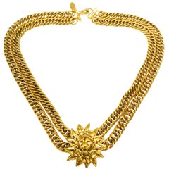 Gilt double row chain necklace, with iconic 'lion head' motif , Chanel, 1980s