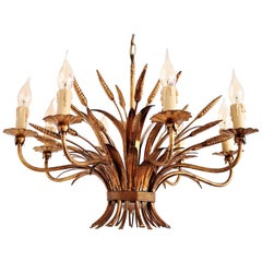 Gilt Eight-Arm Midcentury Chandelier with Wheat and Leaves by Hans Kögl, 1960s