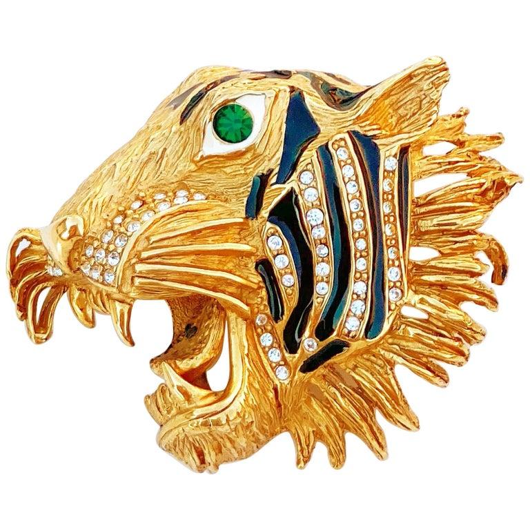 Gilt, Enamel & Crystal Rhinestone Tiger Head Brooch By Erwin Pearl, 1980s For Sale