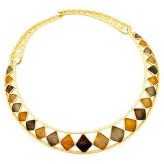 Gilt & Enamel Diamond Pattern Collar Necklace By Anne Klein, 1980s