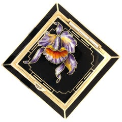 Gilt Enamel Iris Compact