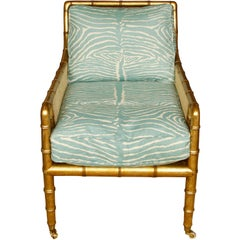Gilt Faux Bamboo Carved and Caned Armchairs